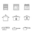 cooker oven stove pan icons set outline style vector image vector image