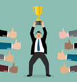 crowd praise businessman holding up a winning vector image