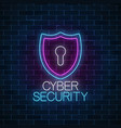 cyber security glowing neon sign internet vector image