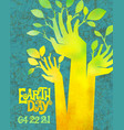 earth day retro raised hands sprouting leaves vector image vector image