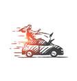 extreme car ride concept sketch hand drawn vector image