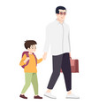 father with preteen school kid flat stylish vector image