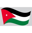 Flag of Jordan waving on gray background vector image vector image