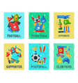 football fan attributes set cards banners vector image