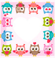 frame with cute owls and hearts vector image vector image