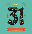 glared floral number thirty one with golden crown vector image