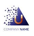 golden letter u logo symbol in blue pixel triangle vector image