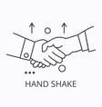 hand shake thin line icon cooperation concept vector image vector image