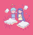 happy valentines day cute young couple in clouds vector image