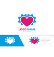 heart and gear logo combination technology vector image