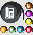 home phone icon Symbols on eight colored buttons vector image
