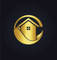 house eco icon gold logo vector image vector image