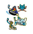 ice hockey sports mascot collection vector image