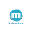 initial letter mm logo template design vector image