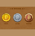 isolated gold silver and bronze bitcoin icon vector image vector image