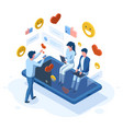 isometric social media people online communication vector image vector image