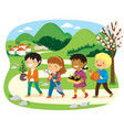 kids going to plant trees on tu bishvat vector image vector image