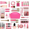 makeup cosmetics with rose cosmetic bag vector image vector image