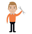 man with wrench tool isolated icon vector image