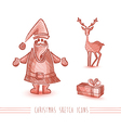 Merry Christmas sketch style red elements set vector image