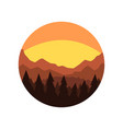 minimalistic round icon with silhouette of pine vector image vector image