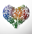ornamental flowers heart vector image vector image