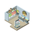 pets shop interior isometric shopping house vector image vector image
