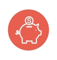 Piggy bank and dollar coin thin line icon vector image
