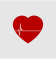 red heart with white heartbeat line icon vector image