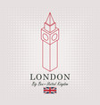 schematic drawing of the big ben and english flag vector image vector image