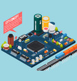 Semiconductor electronic components isometric city