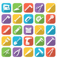 set of tflat style tools icons on a different vector image vector image