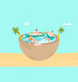summer vacation on sea beach people swimming vector image vector image