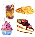 watercolor desserts with berries vector image vector image