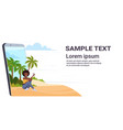 woman using cellphone african american girl vector image