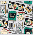 writting accessories seamless pattern vector image