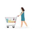 young woman masked pushing shopping cart vector image vector image