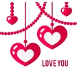 Happy valentines day card with red flat pair of vector image