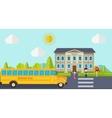 Kids go back to school Bus children and school vector image
