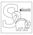Skunk letter S coloring page vector image