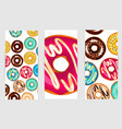 a set of three posters of donuts vector image vector image