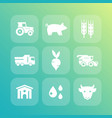 agriculture farming icons set vector image vector image