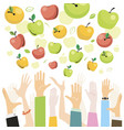 apples falling from sky to people hands vector image vector image