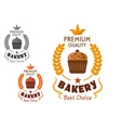 Bakery emblem with cupcake and wheat vector image vector image