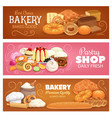 bakery shop pastry and bread banners vector image vector image