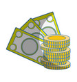 bills and coins cash moey currency vector image