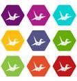 bird origami icon set color hexahedron vector image vector image