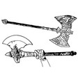 black and white fighting axes vector image