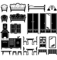 Black icons of furniture vector image vector image
