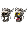 cartoon realistic scary mummy skulls set vector image vector image